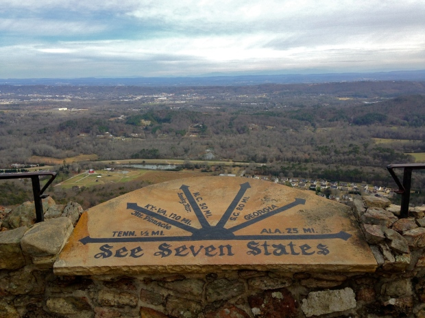 At the peak of Rock City, seven states are visible.