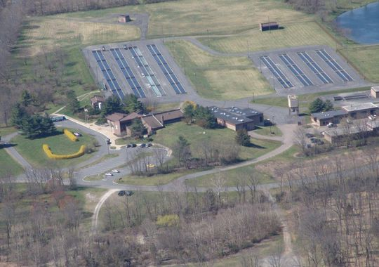 An aerial view of the Pequest Trout Hatchery facility in Oxford.  (Courtesy of Pequest Trout Hatchery)