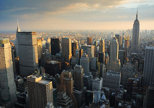 New York City Manhattan skyline aerial view at sunset. (Courtesy of Songquan Deng)