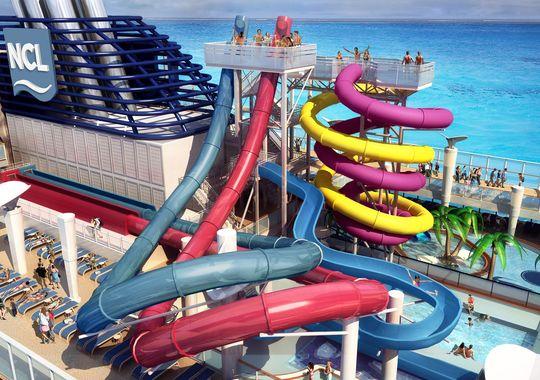 The new Norwegian Breakaway has five waterslides. Norwegian Cruise Line The Aqua Park on the Norwegian Breakaway. (Photo: Courtesy of Norwegian Cruise Line)