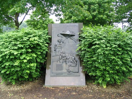 The location of the 1938 Martin Landing Site Monument plaque is no accident – the Martian landings were centered on Grover's Mill, near Princeton. (Photo: ~Courtesy of forensicgenealogy.com)
