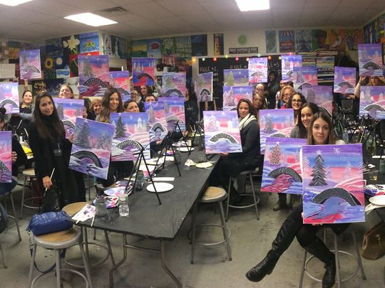 Wine-and-paint studios such as Pinot's Palette, Paint Nite and Wine and Design have been popping up throughout New Jersey during the last two years. (Photo: ~Courtesy of Wine and Design Rahway)
