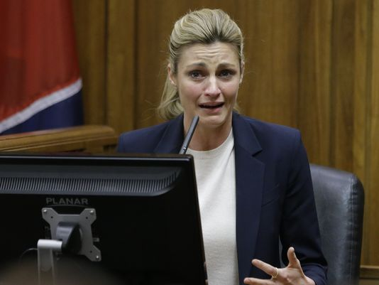 Sportscaster and television host Erin Andrews testifies in Nashville, Tennessee. Speaking in court, she recalled the day seven years ago when she first heard from a friend that she'd secretly been filmed naked and that the video made it on the Internet. (Photo: ~Courtesy of Mark Humphrey, AP