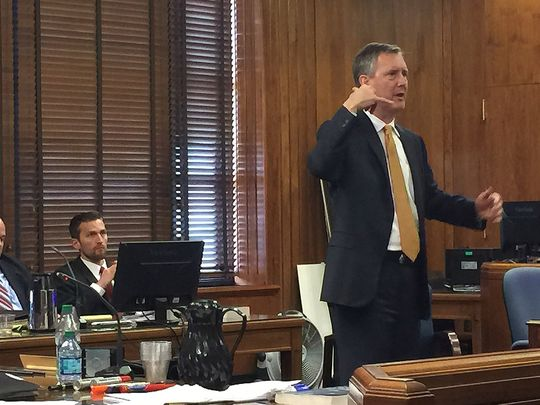 Defense attorney Marc Dedman speaks to the jury during his opening statements in the Erin Andrews-Marriott hotels trial before Judge Hamilton Gayden in the Historic Courthouse Feb. 23, in Nashville, Tennessee. (Photo: ~Courtesy of Samuel M. Simpkins/The Tennessean)