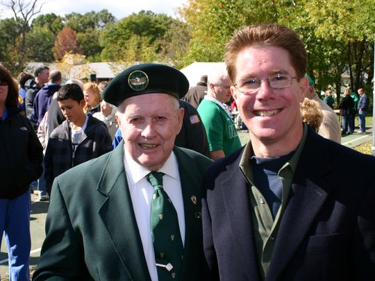 First Woodbridge Parade Chairman Justin McCarthy, who later became an announcer and director, and Ken Gardner, president of American Irish Association of Woodbridge. (Photo: ~Courtesy of Ken Gardner)