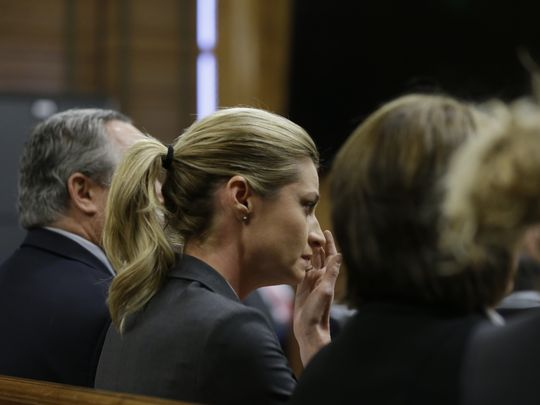 Sportscaster and television host Erin Andrews on Monday, March 7, 2016, in Nashville, Tennessee. A jury awarded Andrews $55 million in her lawsuit against a stalker who bought a hotel room next to her and secretly recorded a nude video, finding that the hotel companies and the stalker shared in the blame. (Photo: ~Courtesy of Mark Humphrey, AP)