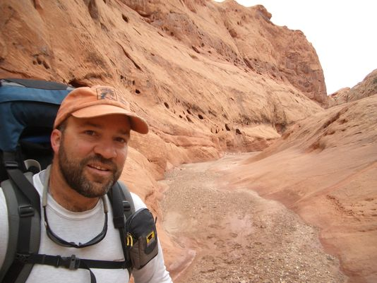 Mike Coronella in Capitol Reef National Park, from the third time hiking between Arches and Zion national parks in 2005. (Photo: ~Courtesy of Mike Coronella)