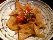 Fish cakes, a kimchi dish to accompany Korean BBQ. Jenna Intersimone/Staff Photo