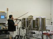 Jeremy Lees, founder of Flounder Brewing, brewing beer. ~Courtesy of Flounder Brewing