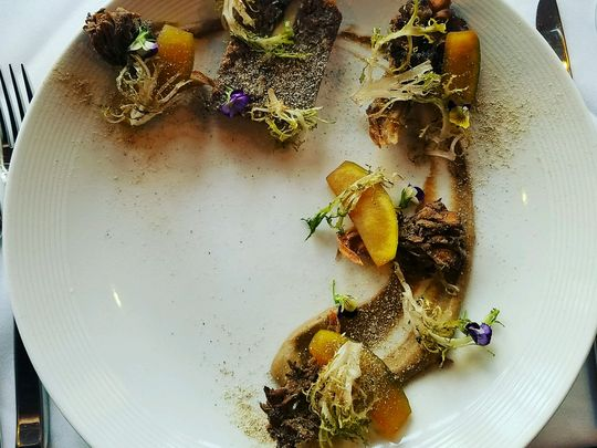 Shiitake dusted 50 day dry aged beef terrine from Stage Left. (Photo: ~Courtesy of Stage Left)