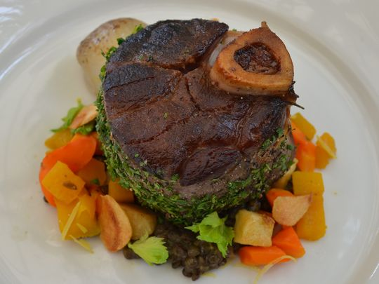 Slow-braised venison osso buco from The Frog and the Peach. (Photo: ~Courtesy of The Frog and the Peach)