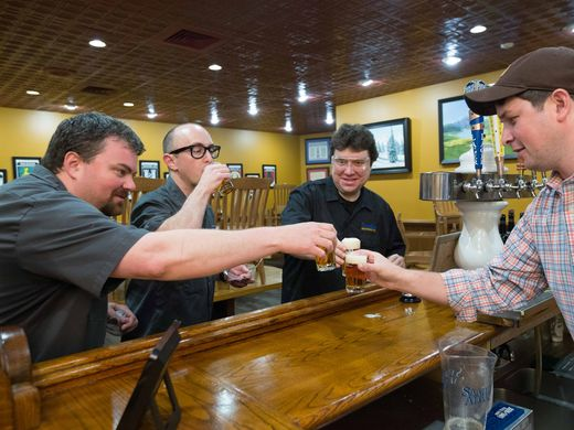 Jeremy Lees and Flounder Brewing co-owners Dan Lees and Billy Jordan during their experienceship at Samuel Adams in Boston.  ~Courtesy of Samuel Adams