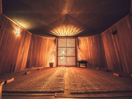 Inside a dry sauna at Island Spa. ~Courtesy of Island Spa