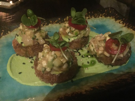 Hamachi tartare with crispy rice cake, cucumber and ponzu. (Photo by Jenna Intersimone)