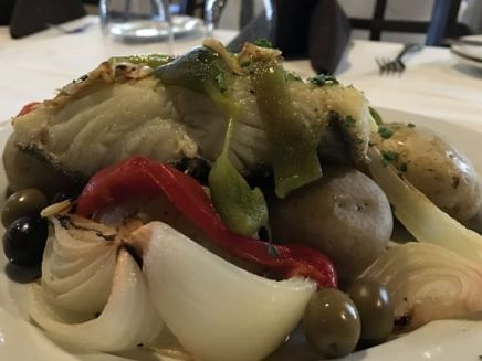 Bacalhau, or Portuguese salt cod, being served on the Portuguese Fisherman's holiday menu. ~Courtesy of Portuguese Fisherman