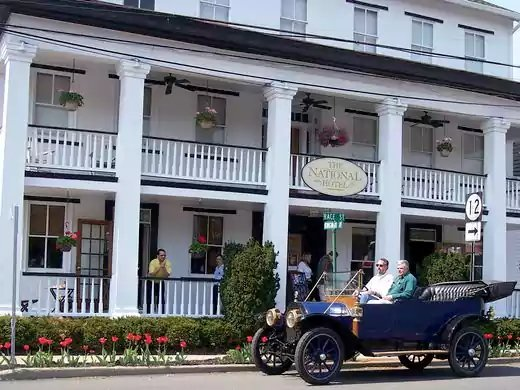 The National Hotel is a luxury boutique hotel built in 1833 in Frenchtown at 31 Race Street.  ~Courtesy of the National Hotel
